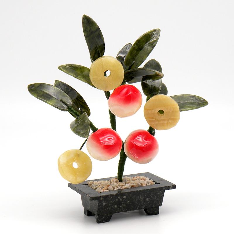 Денежное Дерево Счастья - Персик, нефрит, керамика