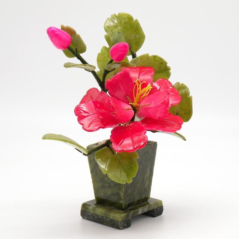 Дерево Счастья 2 пиона и 1 цветок, керамика, нефрит
