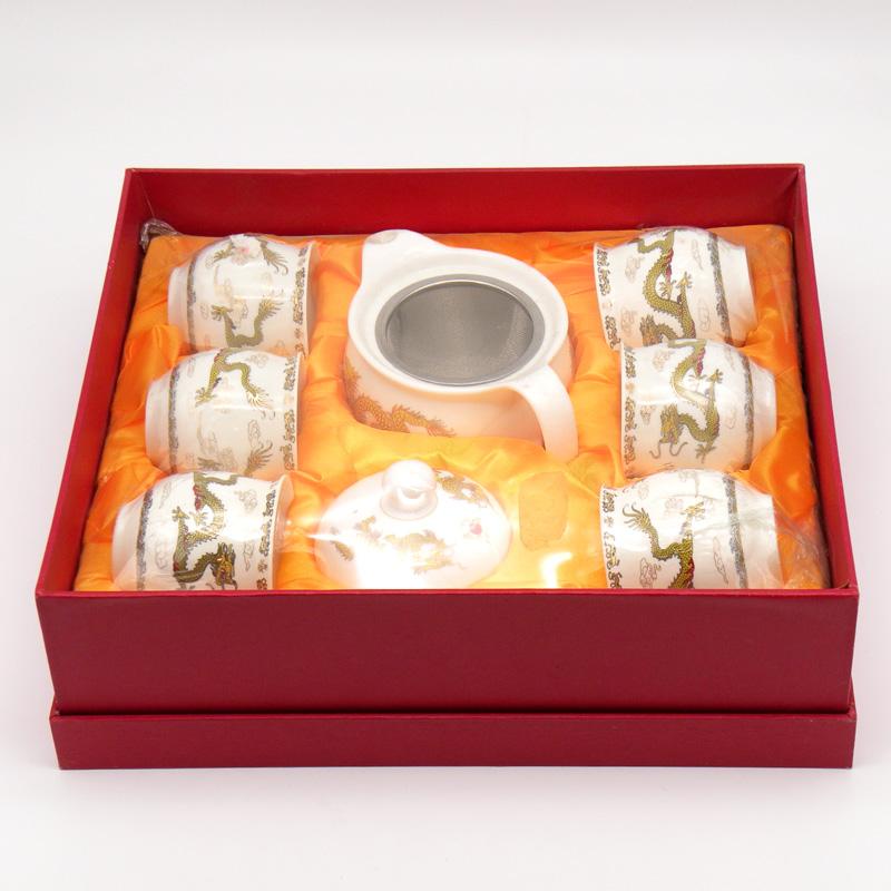 Чайный набор (6 персон) ситечко в комплекте, фарфор, в подарочной упаковке