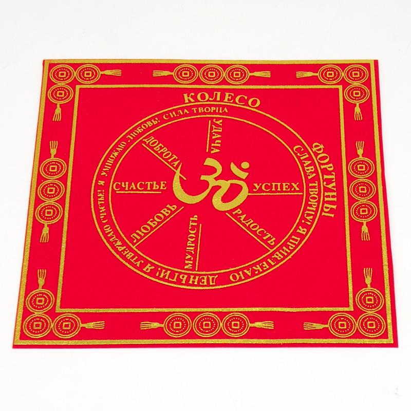 Салфетка для денег, Колесо Фортуны, с иероглифом счастья, 2 карпа