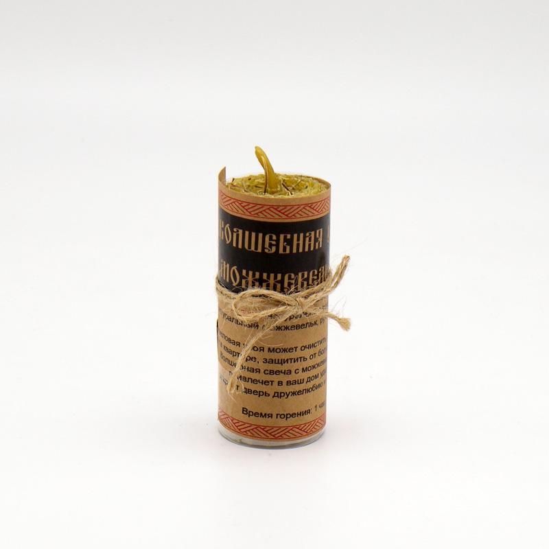 Магическая свеча из вощины и пчелиного воска, с можжевельником, ручная работа