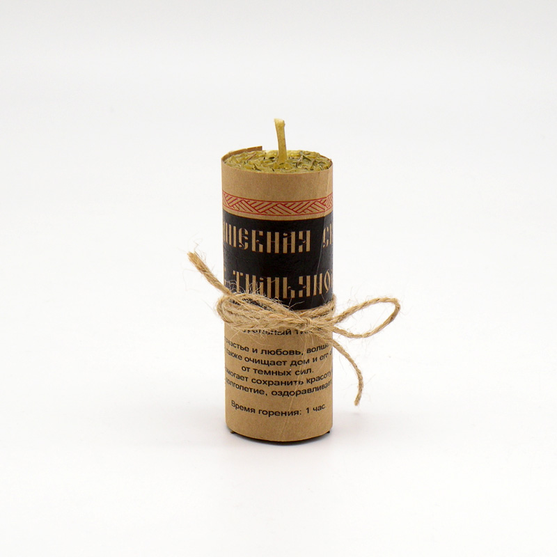 Волшебная свеча из вощины и пчелиного воска, с тимьяном, ручная работа