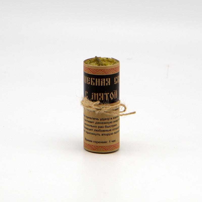 Волшебная свеча из вощины и пчелиного воска, с мятой, ручная работа