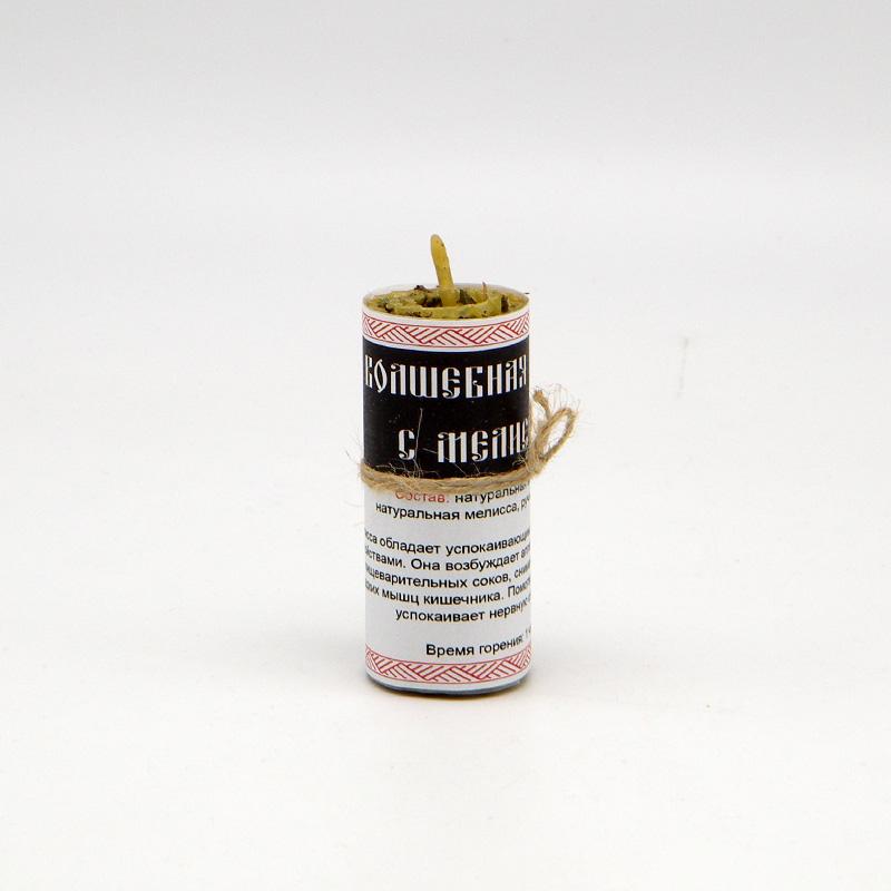 Волшебная свеча из вощины и пчелиного воска, с мелиссой, ручная работа