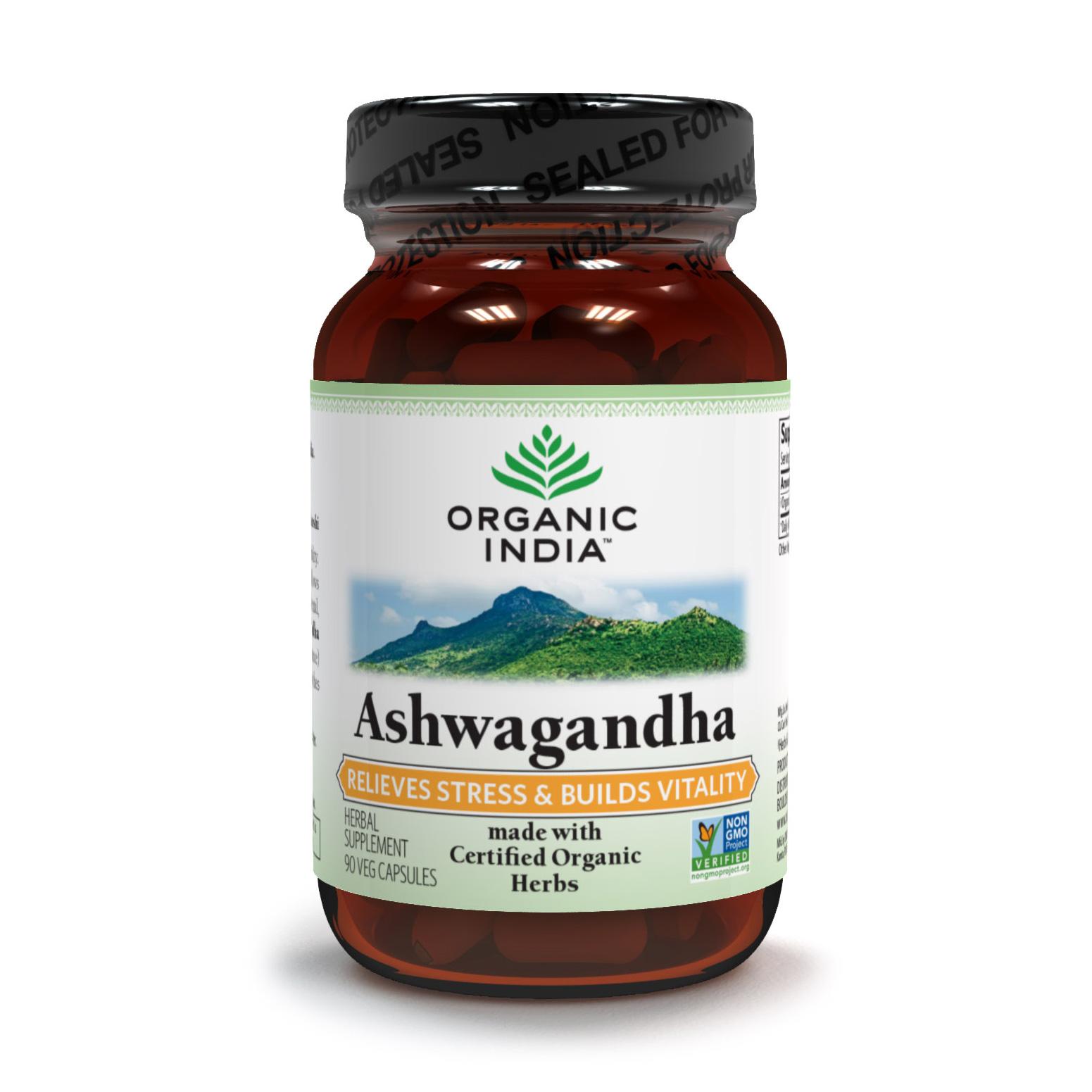 Organic India, органическая Ашваганда (Ashwagandha) (90 растительных капсул)