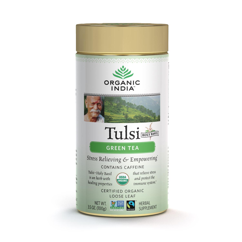 Organic India, листовой чай Туласи (Tulsi), зелёный (100 грамм)