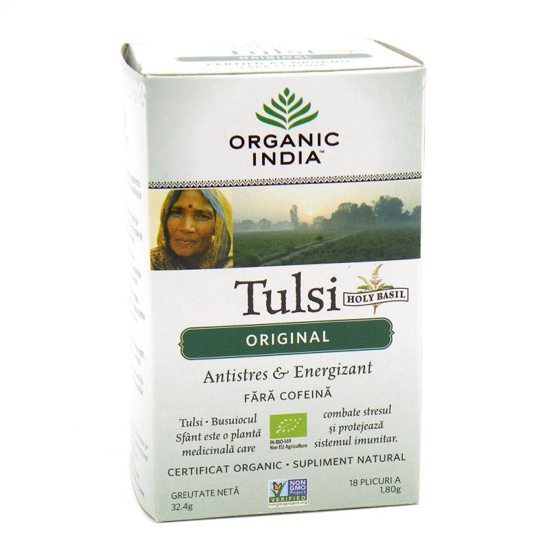 Organic India, оригинальный чай Туласи (Tulsi), без кофеина (18 пакетиков) (32.4 грамм)