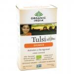 Organic India, чай Туласи (Tulsi), с имбирем, без кофеина (18 пакетиков) (32.4 г)