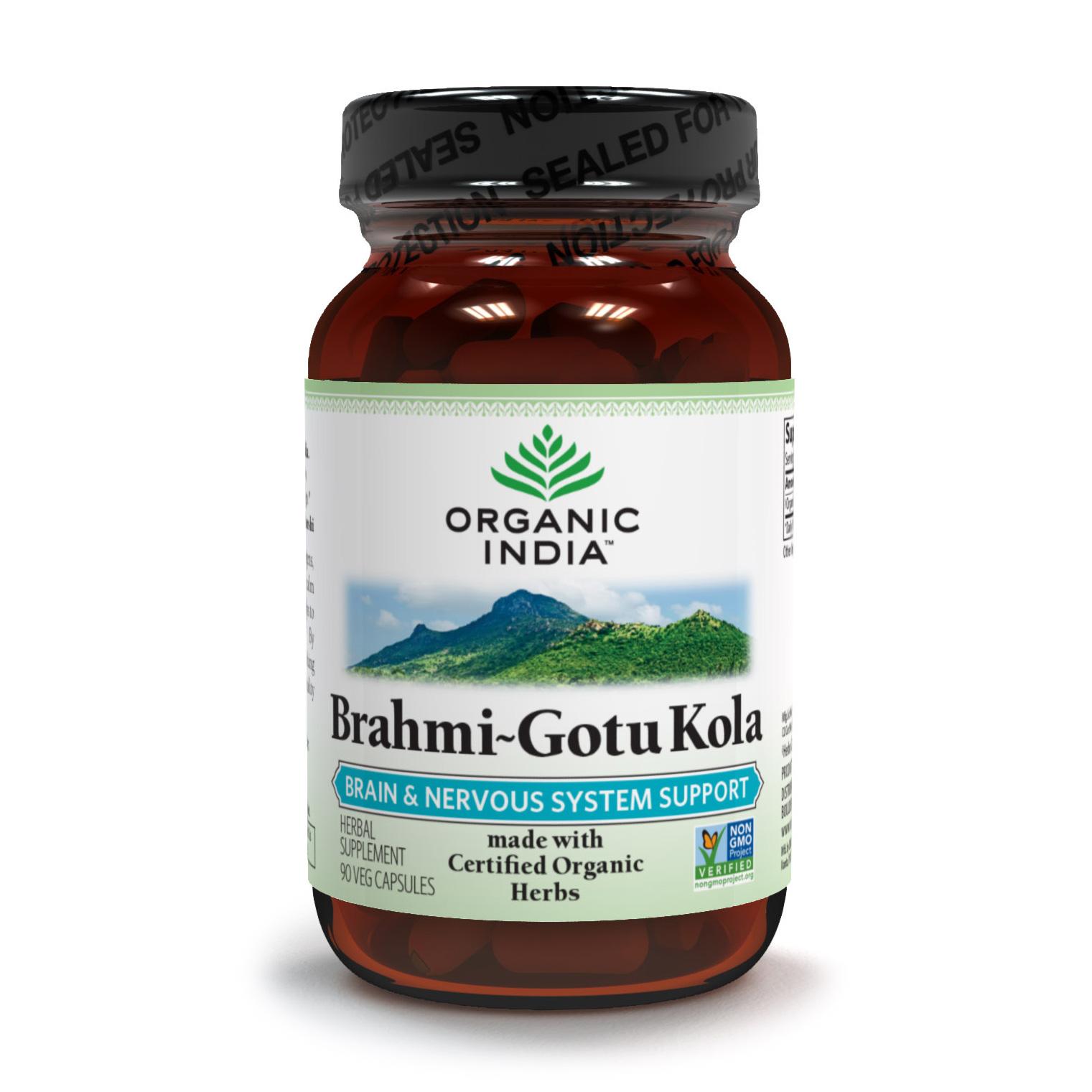 Organic India, Брахми-Готу Кола (Brahmi-Gotu Kola), улучшает работу мозга, укрепляет память (90 растительных капсул)