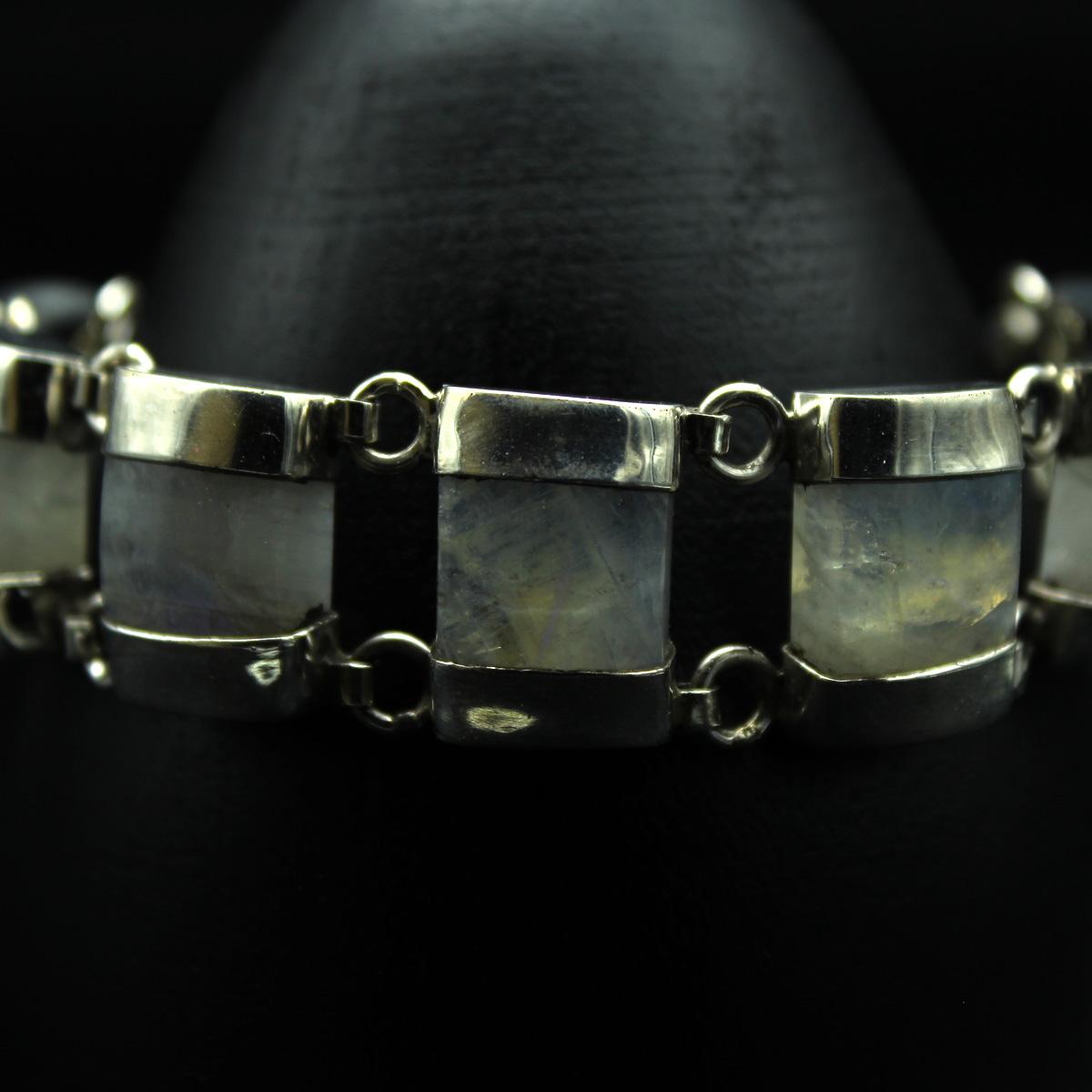 Браслет, серебро, натуральный камень - перистерит, 35.18 грамм, проба 925