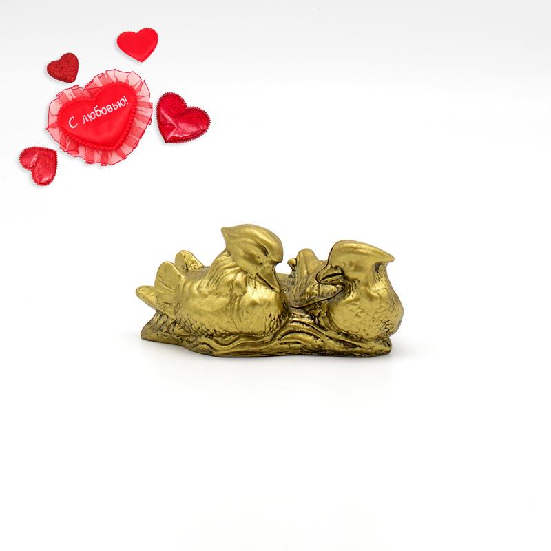 Утки Мандаринки на подставке, имитация бронзы