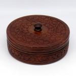 Шкатулка круглая из красного дерева