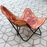 Винтажное кресло «Бабочка» (Butterfly), натуральная кожа, цельный стальной каркас