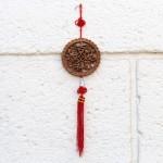 Подвеска Мистический узел феншуй и узел удачи с кистью, китайская монета счастья, сандаловое дерево