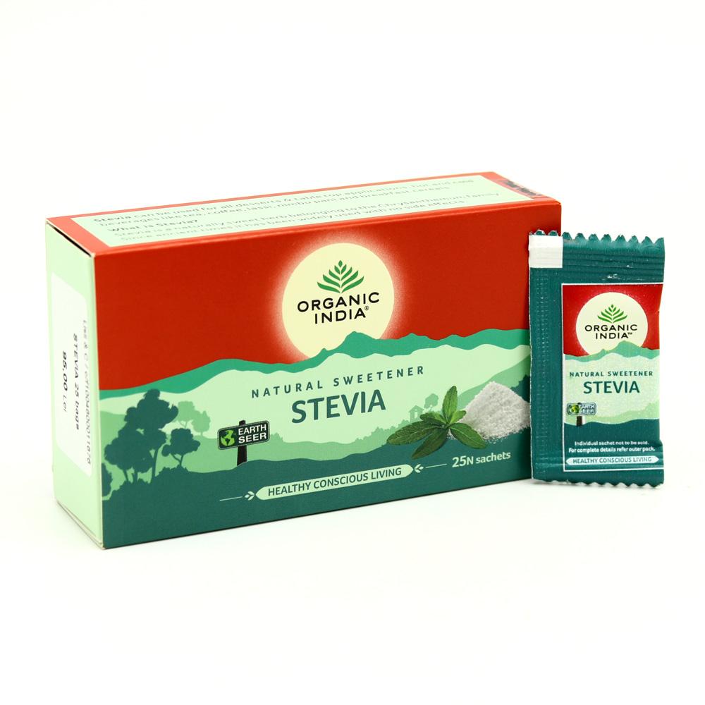 Organic India, Стевия (Stevia) природный сахарозаменитель с нулевой калорийностью, 25 пакетиков