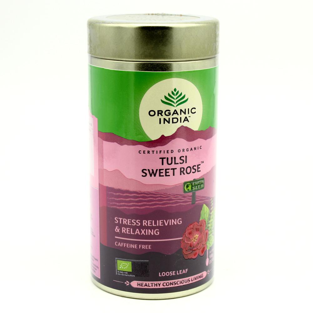 Organic India, аюрведический чай Туласи Сладкая Роза (Tulsi Sweet Rose), без кофеина, рассыпной, 100 г