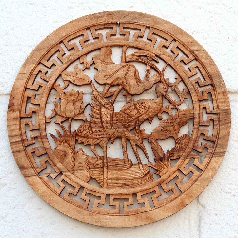 Резной сюжет картина пара журавлей, китайский иероглиф, сандаловое дерево