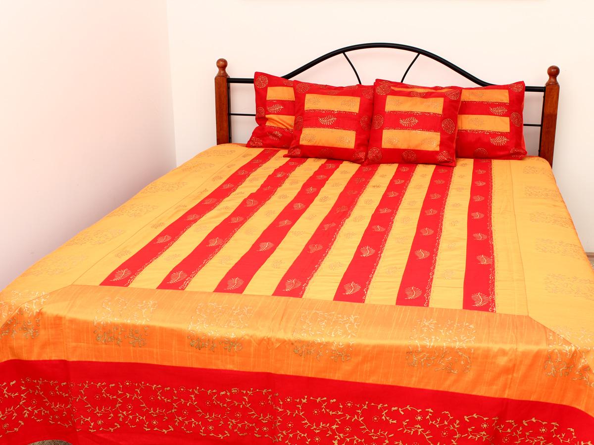Комплект постельного белья люкс King Size, покрывало рисунок принт, 4 наволочки