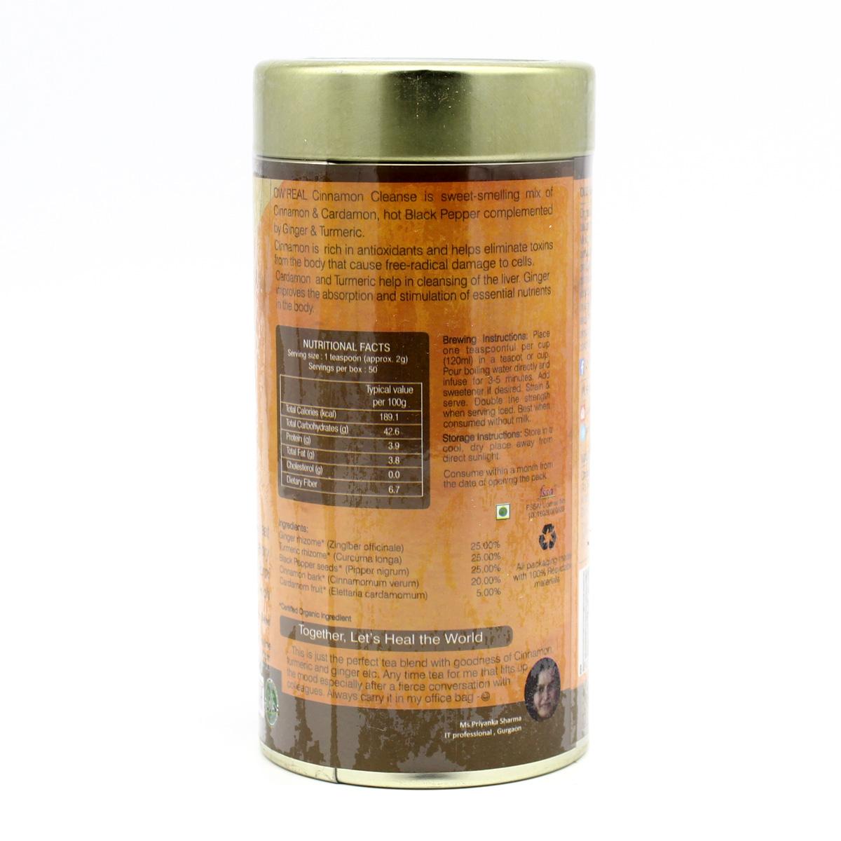 Cinnamon Cleanse травяной чай с корицей, смесь пряностей Organic Wellness 100 г