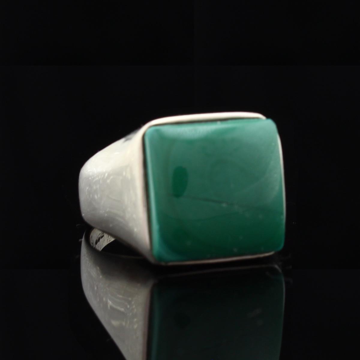 Кольцо, серебро, натуральный камень, Малахит, 10.22 г, проба 875, размер 20