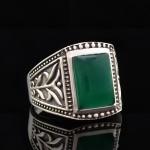 Кольцо, серебро, натуральный камень, Хризопрас, 12.15 г, проба 875, размер 21.5