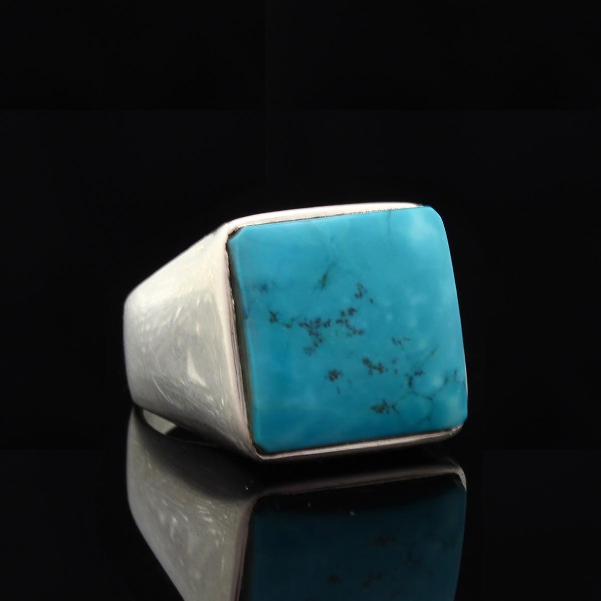Кольцо, серебро, натуральный камень, Бирюза, 9.3 г, проба 875, размер 18.5