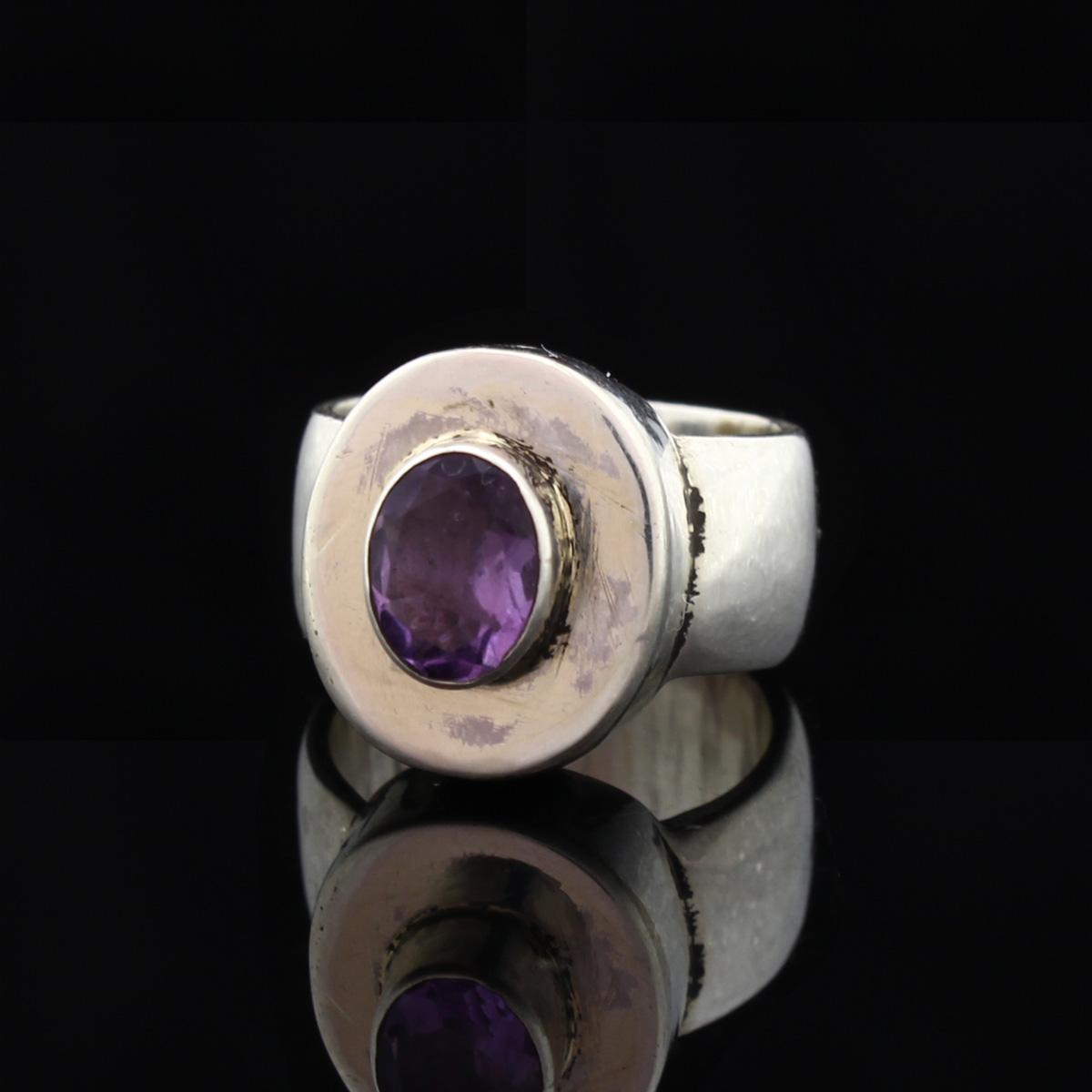 Кольцо, серебро, натуральный камень, Аметист, 12.15 г, проба 875, размер 16.5