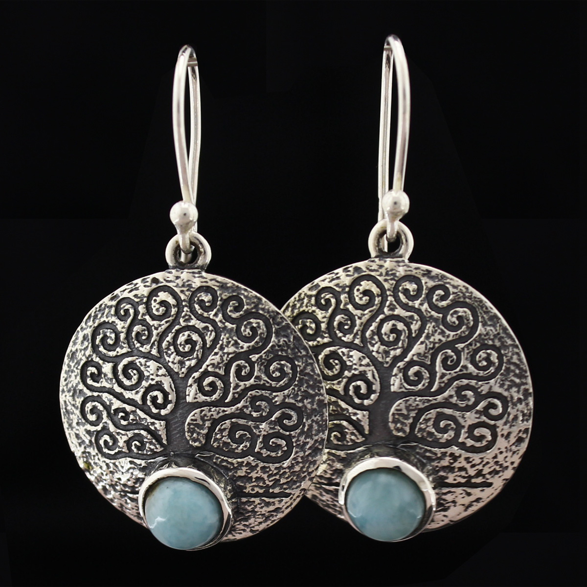Серьги, серебро, натуральный камень, Ларимар, 6.97 г, проба 875