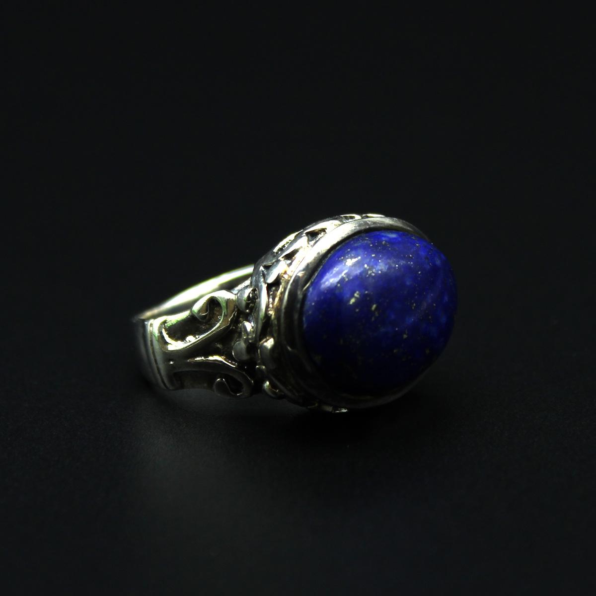 Кольцо, серебро, натуральный камень - голубой лазурит, 10.02 грамм, проба 925, размер 17