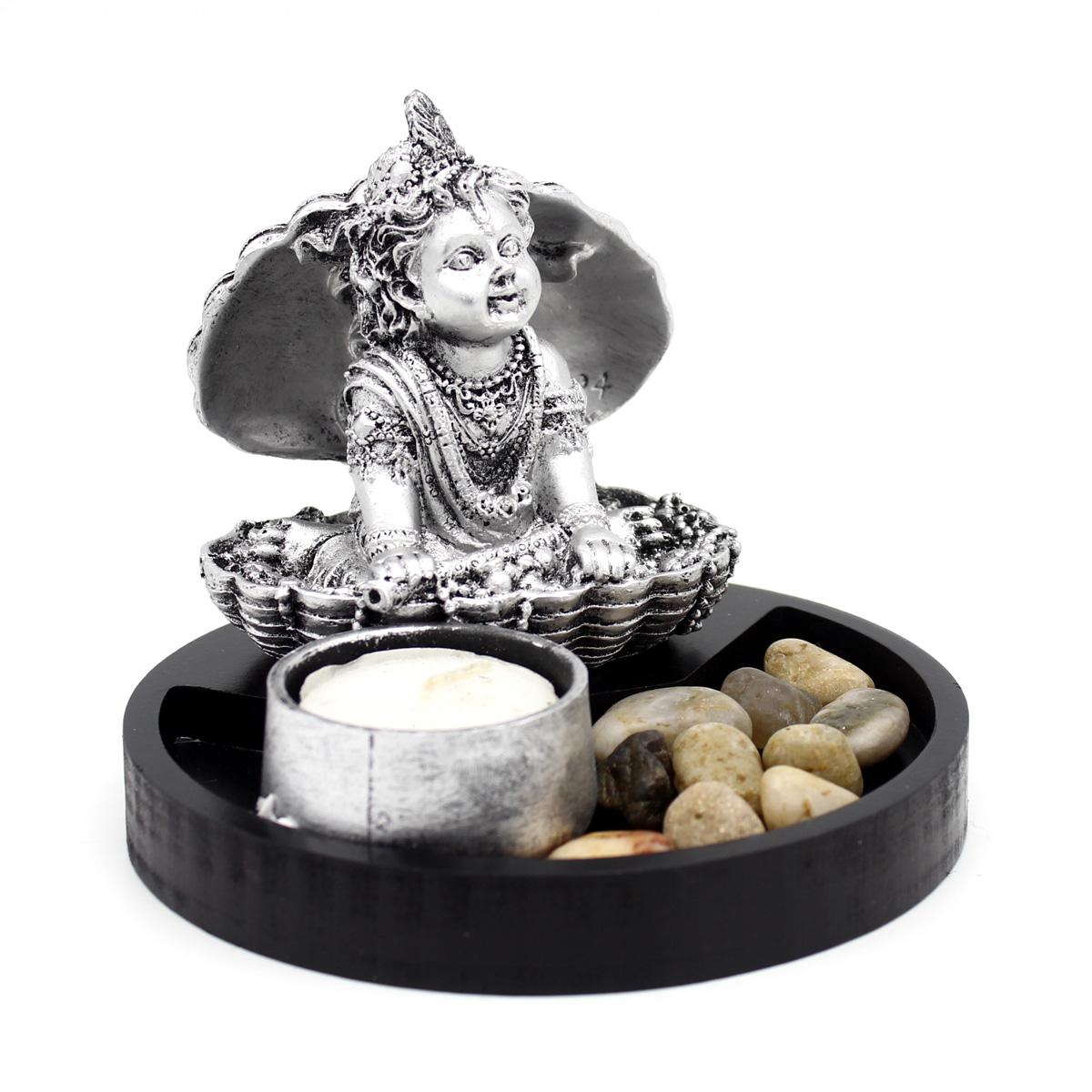 Индийское божество Кришна в раковине, гипс, подсвечник