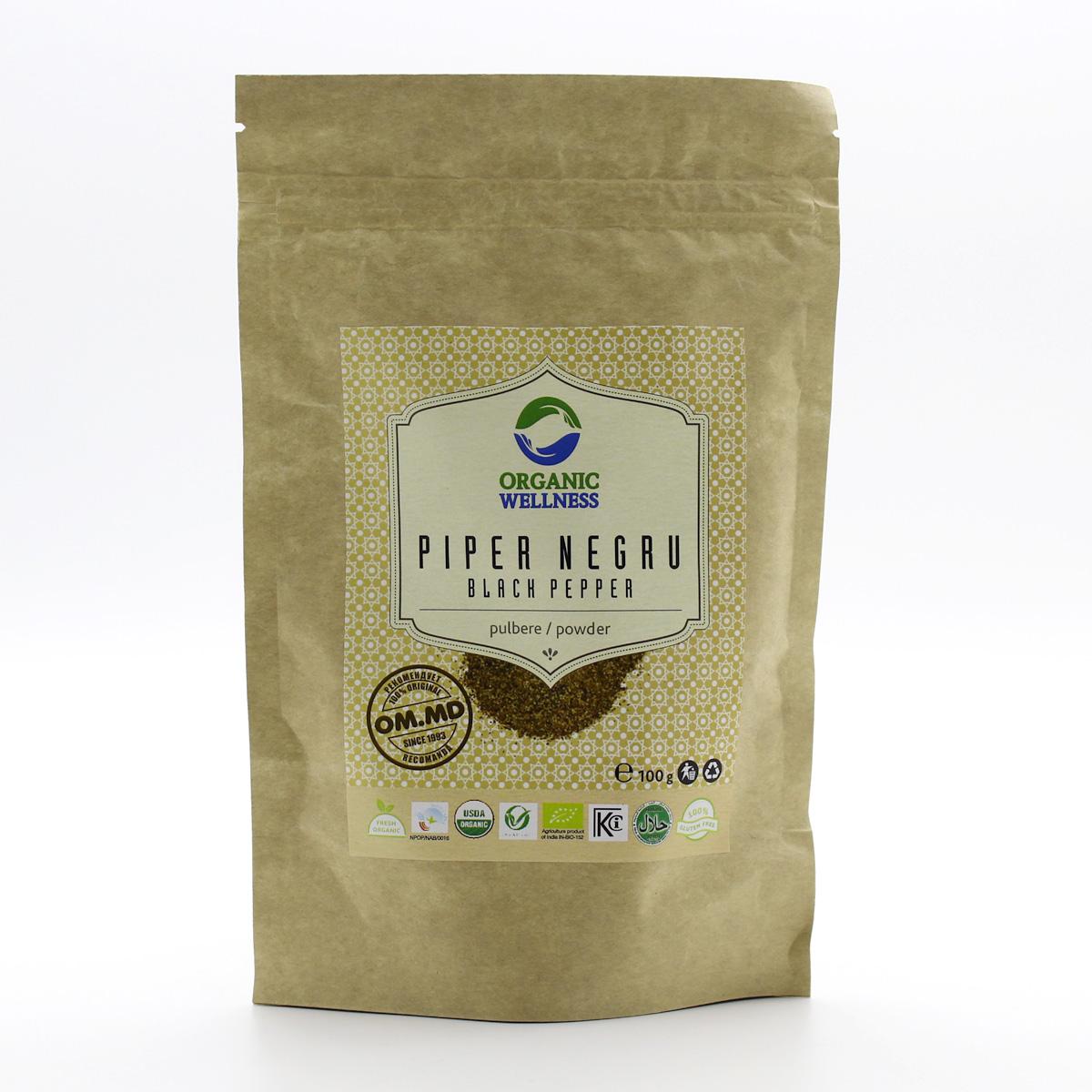 Перец черный молотый (Black Piper) порошок, 100 г, Organic Wellness